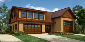 Garage Plan 1831, with double and single garages, RV parking, workshop and apartment